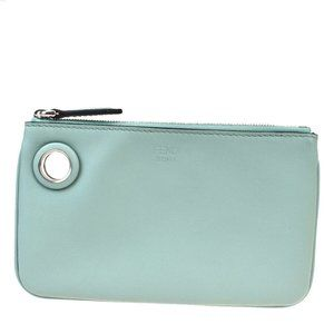 Fendi Leather Pouch Green